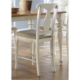 Ocean Isle Bisque & Natural Pine Splat Back 24 Inch Barstool