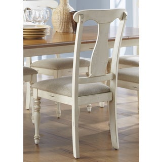 Ocean Isle Bisque & Natural Pine Splat Back Dining Chair