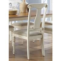 Havenside Home Bavon Antique White and Natural Pine Splat Back Dining Chair
