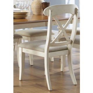 Havenside Home Bavon Antique White and Natural Pine X-back Dining Chair