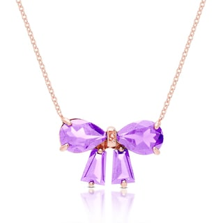 Dolce Giavonna Gold Over Sterling Silver Gemstone and Diamond Accent Bow Design Necklace