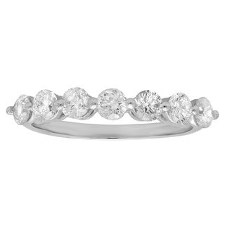 Elora 14k White Gold 1ct TDW Round Diamond 7-stone Wedding Band (J-K, I1-I2 )