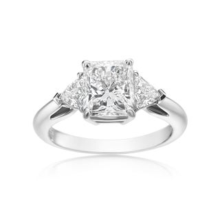 SummerRose 18k White Gold 2 5/8ct TDW Radiant and Trillion-cut Diamond 3-stone Ring