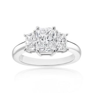 SummerRose Platinum 2 3/8ct TDW Radiant and Trapezoid Diamond 3-stone Ring (5 options available)