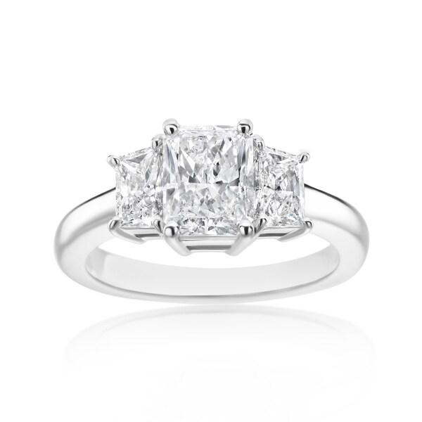 SummerRose Platinum 2 3/8ct TDW Radiant and Trapezoid Diamond 3-stone Ring - White