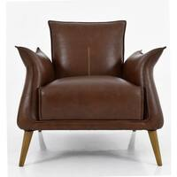 Aurelle Home Brown Leather Accent Chair