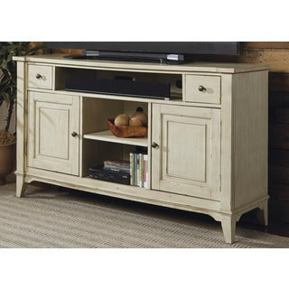 Harbor Rustic Ivory Distressed Transitional TV Console