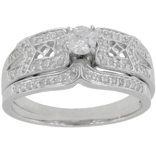 14k White Gold 1/2ct TDW Round Diamond Split Shank Bridal Ring Set