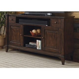 Harbor Rustic Peppercorn Distressed Transitional TV Console