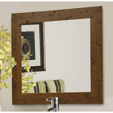 American Made Rayne Rustic Light Walnut Wall/ Vanity Mirror - Large (over 32'' high) - 26.5 X 32.5 - (As Is Item)