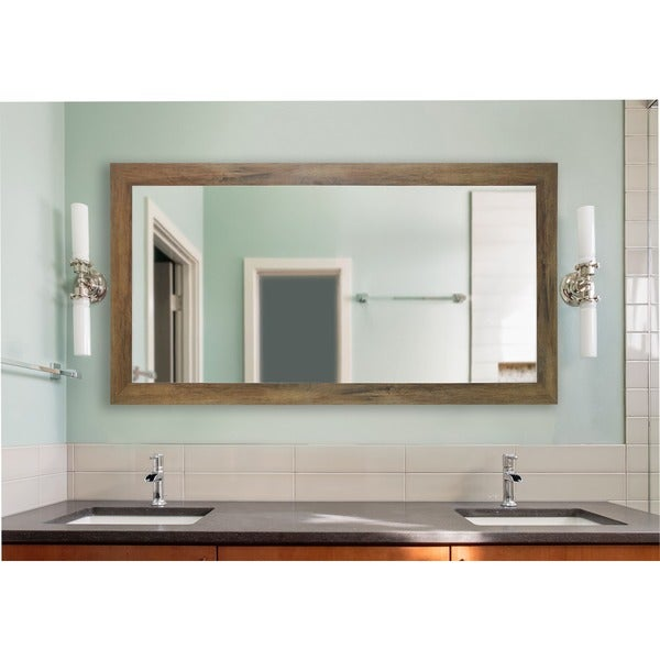 American Made Brown Extra Large Wall/ Vanity Mirror - Light Brown