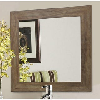 American Made Rayne Brown Square Wall/ Vanity Mirror - Light Brown