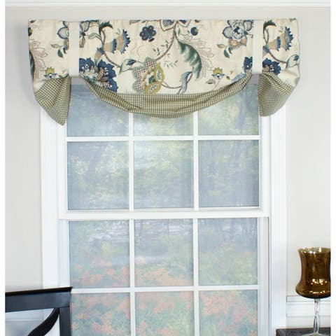 "RLF Home Jacobean Floral Suspender 50"" Window Valance"