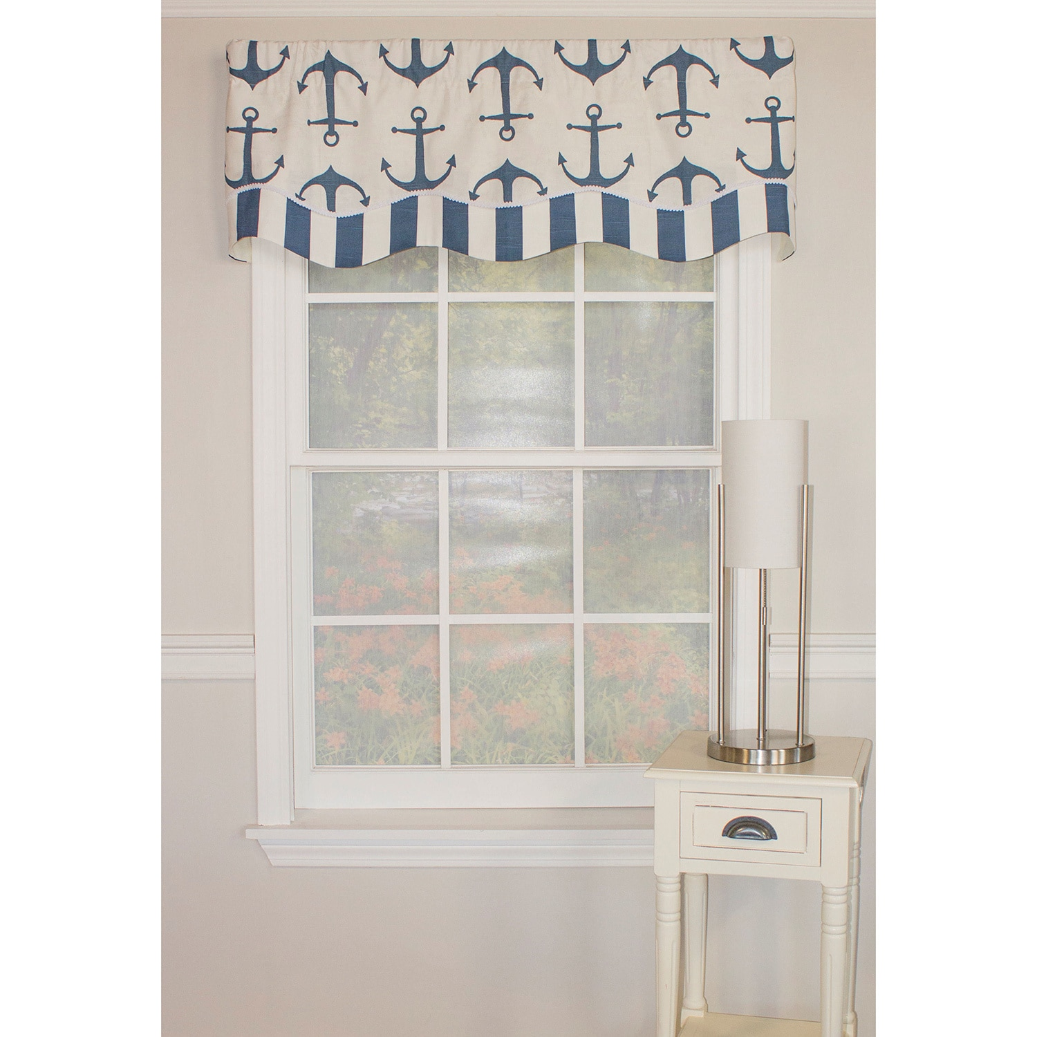 RLF HOME Anchors Away Glory Valance (Navy), Blue (100% Co...