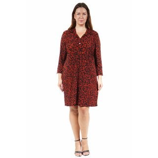 24/7 Comfort Apparel Women's Plus Size Abstract Black&Red Printed Collared Henley Dress