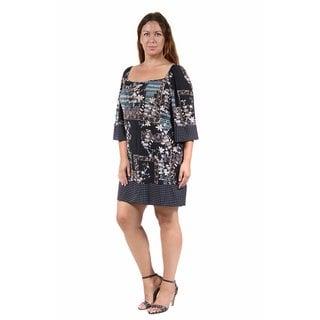 24/7 Comfort Apparel Women's Plus Size Fall Square-Neck Shift Dress