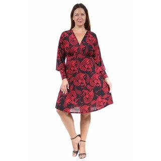 24/7 Comfort Apparel Women's Plus Size Red Paisley Empire Dress