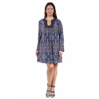24/7 Comfort Apparel Women's Plus Size Abstract Blue&Cream Printed Shift Dress