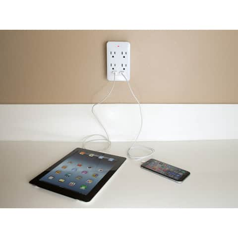 2 USB with 3-prong Outlet Wall Charger Adapter