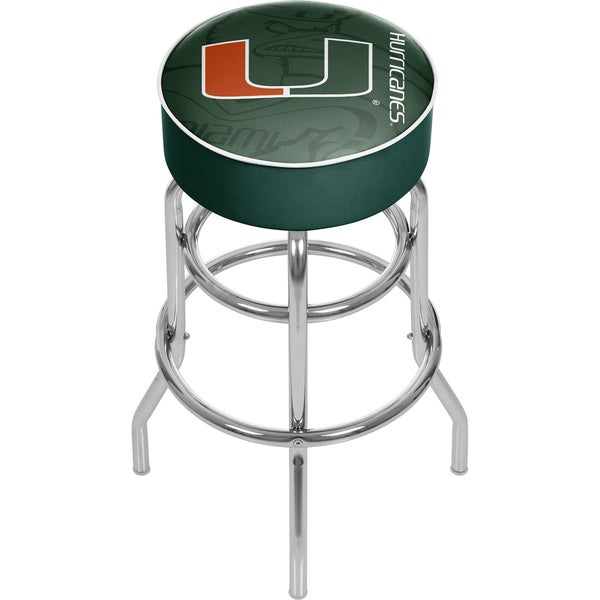 University of Miami Chrome Bar Stool with Swivel
