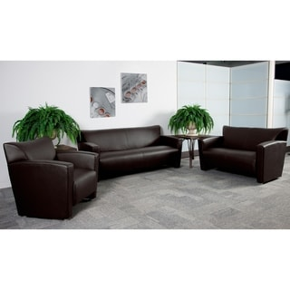 Porch & Den Wells Leather Reception Area Seating Set
