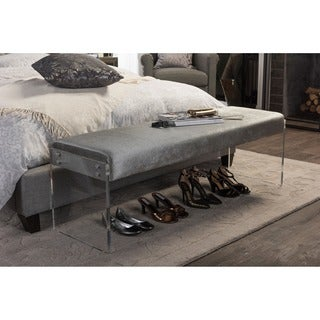Baxton Studio Hildon Contemporary Grey Microsuede Bench with Acrylic Legs