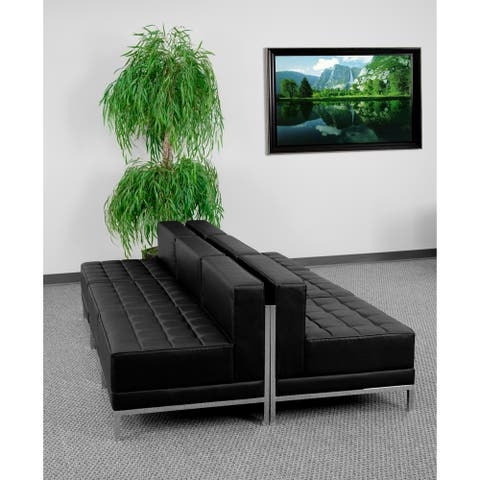 """6 Piece Black LeatherSoft Modular Lounge Set with Taut Back and Seat - 168""""W x 28.75""""D x 27.25""""H"""