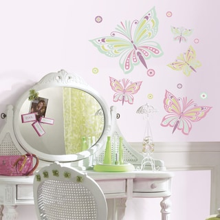 RoomMattes Pink/ Green Waverly Butterfly Large Wall Decals