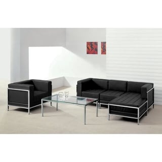 Hercules Imagination Series Black Leather 5-piece Sectional and Chair