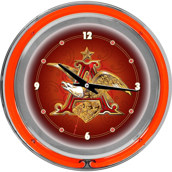 Budweiser A and Eagle 14 Inch Neon Wall Clock