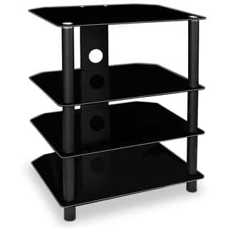 Mount-It! MI-867 Modern Glass Media Stand with Four Black Shelves, and Tempered Glass for TV Components|https://ak1.ostkcdn.com/images/products/10648186/P17715110.jpg?impolicy=medium