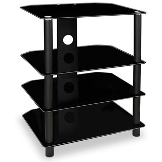 Mount-It! MI-867 Modern Glass Media Stand with Four Black Shelves, and Tempered Glass for TV Components