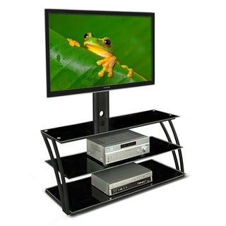 Mount-It! MI-864 Black Contemporary TV Mount and Entertainment Center with 3 Tempered Glass Shelves for up to 60-inch Screens