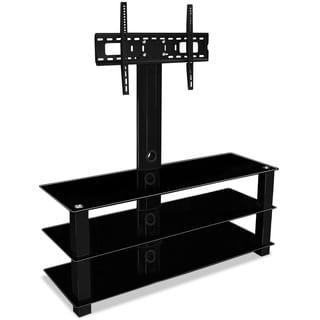 Mount-It! MI-866 Entertainment Center TV Stand with 32 to 60-inch Flat Screen TV Mount and 3 Tempered Glass Shelves