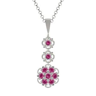 Lucia Costin Sterling Silver Fuchsia Crystal Pendant