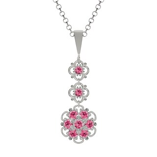 Lucia Costin Sterling Silver Pink Crystal Pendant