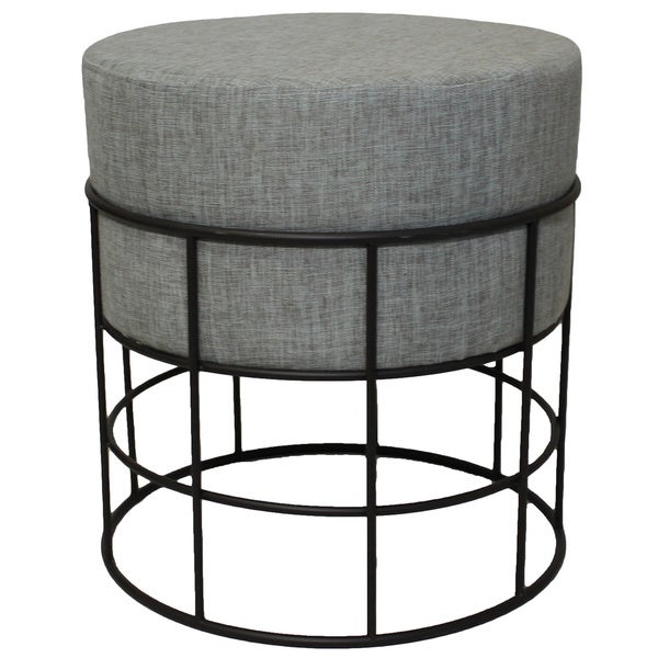 Modern Designs Indoor Outdoor Round Metal and Fabric Ottoman