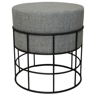 Modern Designs Round Metal and Fabric Ottoman