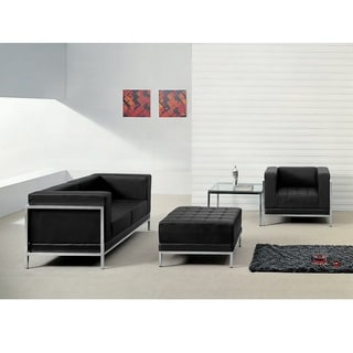 Hercules Imagination Series Black Leather Loveseat, Chair and Ottoman Set