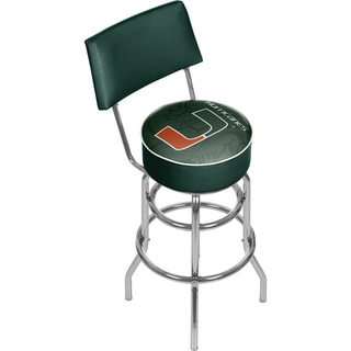 University of Miami Swivel Bar Stool with Back