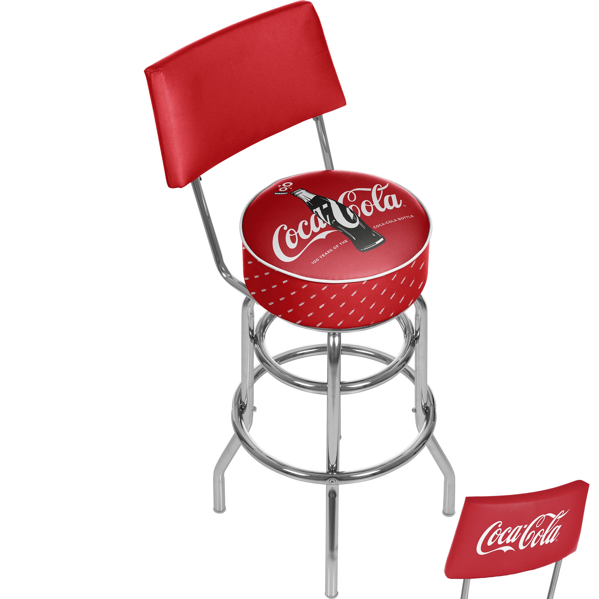 Trademark Gameroom Coca-Cola Stool with Back - 100th Anni...