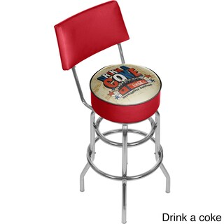 Coca Cola Brazil 1886 Pub Stool with Back (Option: Drink a Coke Bar Stool)