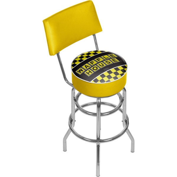 Waffle House Padded Swivel Bar Stool with Back