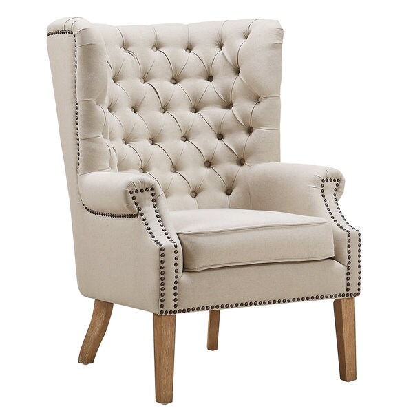 Abe Beige Linen Wing Chair - Free Shipping Today ...