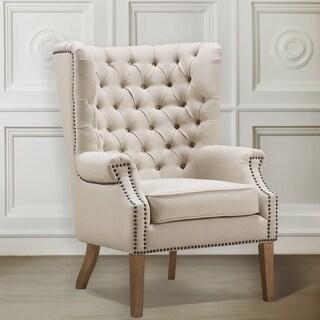 Abe Beige Linen Wing Chair