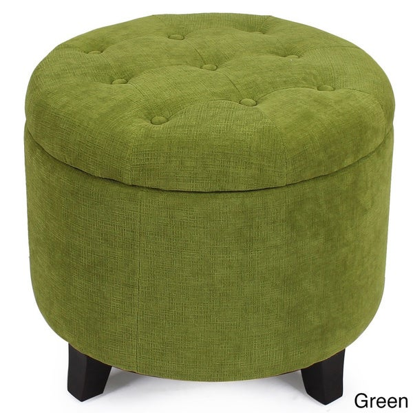 Fabric Cushion Round Button Tufted Lift Top Storage Ottoman - Free Shipping  Today - Overstock.com - 17715186 - Fabric Cushion Round Button Tufted Lift Top Storage Ottoman - Free