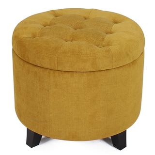 Adeco Microfiber Flannelette Fabric Cushion Round Button Tufted Lift Top Storage Ottoman 19 - 20-inch Footstool