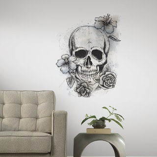 RoomMates Neutral Floral Skull Giant Wall Decals