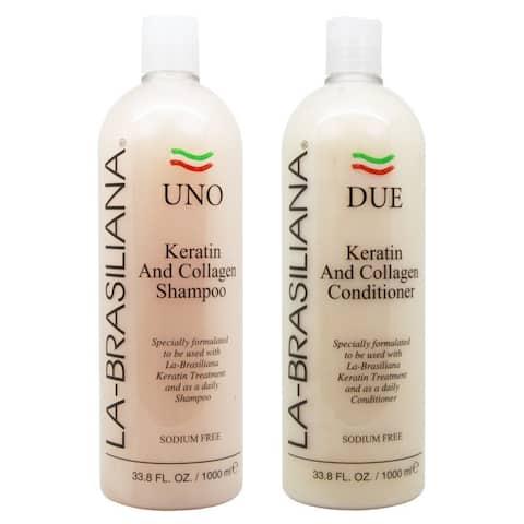 La-Brasiliana UNO Keratin and Collagen 33.8-ounce Shampoo and DUE Conditioner