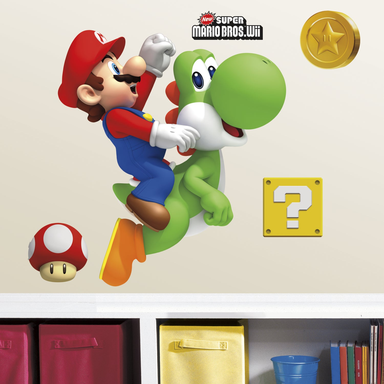RoomMates Yoshi and Mario Giant Wall Decals (Multi, 1 she...